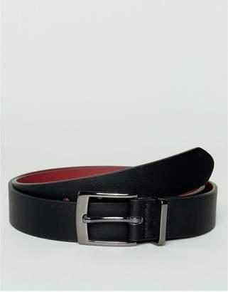 Asos Design DESIGN smart faux leather slim belt in black with metal keeper