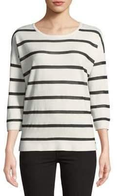 Calvin Klein Striped-Print Quarter-Sleeve Sweater