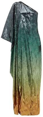 Mary Katrantzou Isolde Gradient Sequinned One Shoulder Gown - Womens - Green Multi