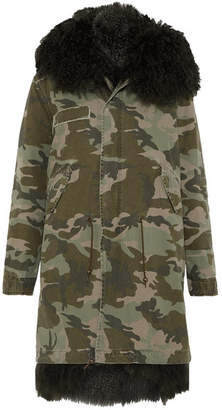 Mr & Mrs Italy Hooded Shearling-lined Printed Cotton-canvas Parka - Green