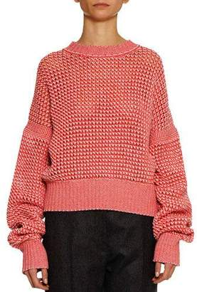 Jil Sander Crewneck Long-Sleeve Open-Weave Tweed Pullover Cashmere-Wool Sweater