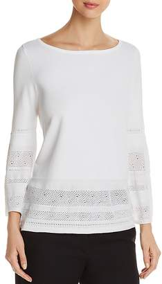 Marled Pointelle-Trim Bell Sleeve Top