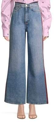 Mixed Denim Wide Leg Jeans