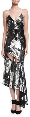 Milly Fractured Sequin Sleeveless Bias-Cut Cocktail Slip Dress $595 thestylecure.com