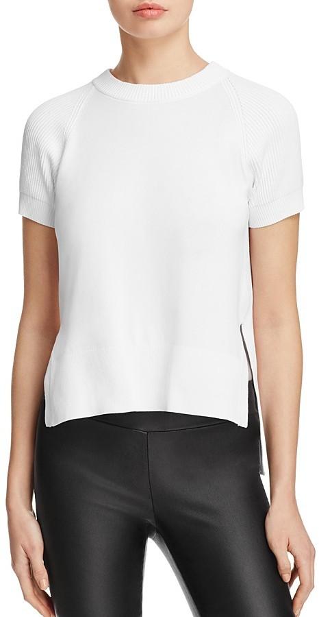 DKNYDKNY Ribbed-Detail Short Sleeve Crewneck Sweater