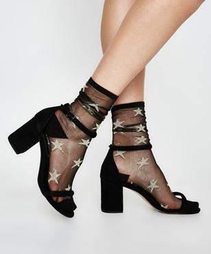 High Heel Jungle Gold Star Black Sheer Socks