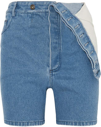 Y/Project Asymmetric Denim Shorts - Mid denim