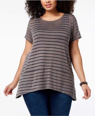 INC International Concepts I.n.c. Plus Size Illusion-Striped Top, Created for Macy's