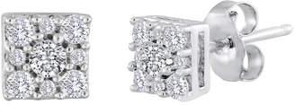 JCPenney FINE JEWELRY diamond blossom 1/4 CT. T.W. Diamond Sterling Silver Cluster Earrings