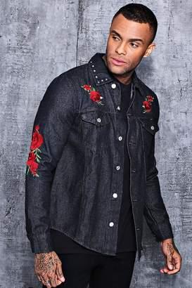 boohoo Long Sleeve Rose Embroidered Denim Shacket