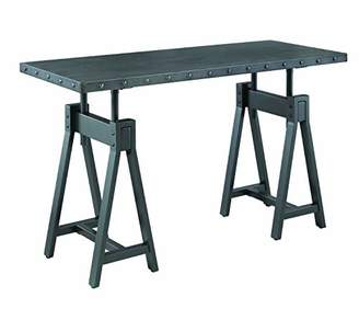 Benjara BM196802 Industrial Metal Console Table with Dual Sawhorse Legs and Nailhead Accents