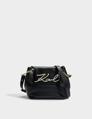 Karl Lagerfeld K/Signature Small Drawstring Bag in Black Smooth Calf Leather