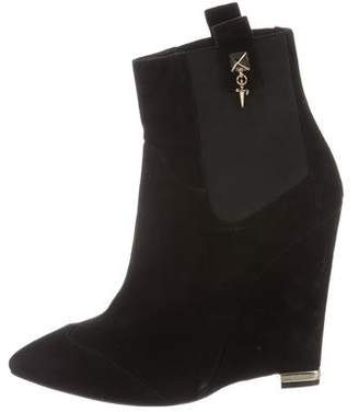 Cesare Paciotti Suede Wedge Ankle Boots
