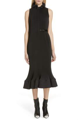 Tibi Plisse Ruffle Hem Sheath Dress