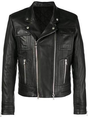 Balmain leather graphic biker jacket