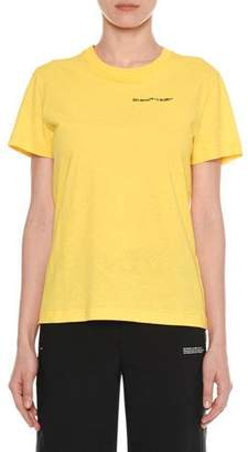 "Off-White T-Shirt"" Crewneck Short-Sleeve Casual Cotton Tee"