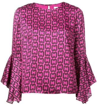 Milly printed flared cuff blouse
