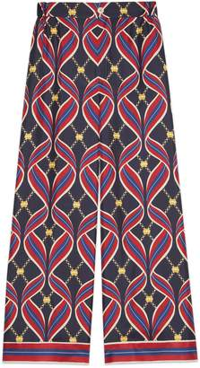 Gucci Pajama pant with Interlocking G ribbon print
