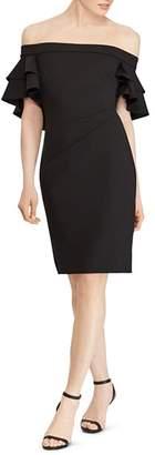 Ralph Lauren Ruffled Off-the-Shoulder Crepe Dress