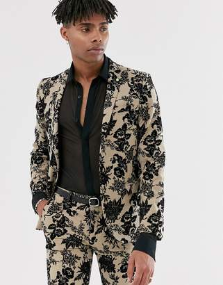 Twisted Tailor super skinny suit jacket with floral flocking in tan