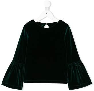 Lapin House velvet bell sleeve blouse