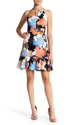 London Times Peplum Hem Floral Print Dress (Petite)