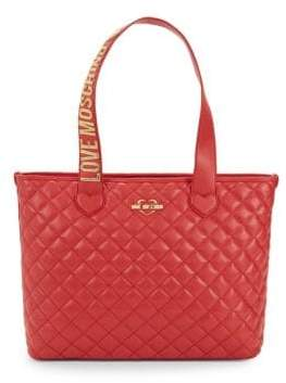 Love Moschino Metallic Logo Quilted Tote