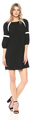 Julian Taylor Women's Color Blocked 3/4 Puff Sleeve Shift Dress