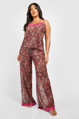 boohoo Gemma Collins Chiffon Leopard Lace Trim PJ Set