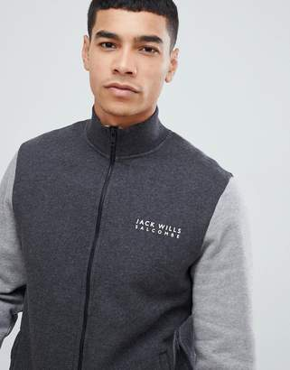 Jack Wills Barnsley zip-thru color block sweat track jacket in dark gray