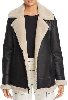 Maximilian Furs Lamb Shearling Aviator Jacket