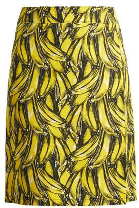 f89b8ea4b9 COM · Prada Banana Print Wrap Cotton Skirt - Womens - Yellow Print