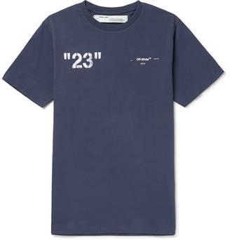 Off-White Off White Logo-Print Cotton-Jersey T-Shirt - Men - Blue