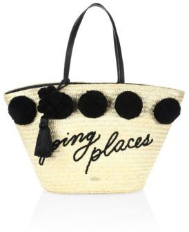 Kate Spade New York Lewis Way Large Pom Marketa Straw Tote $298 thestylecure.com