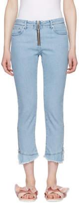MSGM Blue Zipped Ruffles Jeans