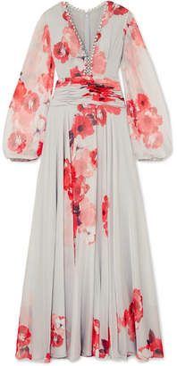 Costarellos Ruched Floral-print Chiffon Gown - Sky blue