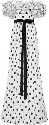 Andrew Gn Ruffled Off-the-shoulder Polka-dot Silk Crepe De Chine Gown - White