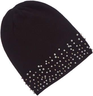 Qi Black Pearl-Trimmed Cashmere Hat