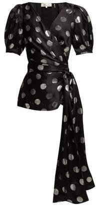 Diane von Furstenberg Larryn Silver Spot Wrap Top - Womens - Black Silver