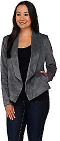 Halston H by Open Front Faux Suede Jacket