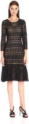 Rebecca Taylor Women's Three-Quarter Sleeve Lace Dress