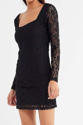 Urban Outfitters Lace Square-Neck Mini Dress
