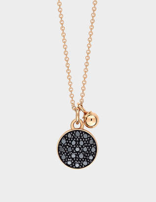 ginette_ny Black Diamond Mini Ever Disc 18-karat rose gold necklace