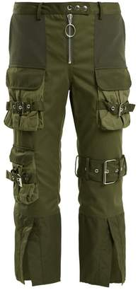 Marques'almeida - Mid Rise Cropped Military Trousers - Womens - Khaki