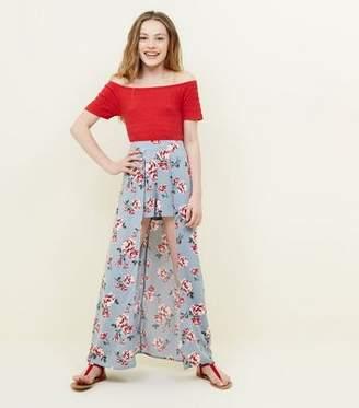 New Look Girls Blue Floral Ditsy Print Dip Hem Shorts