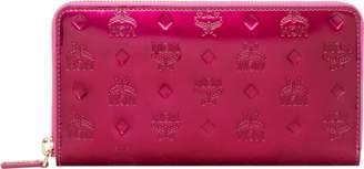MCM Zip Around Wallet In Monogram Patent Leather
