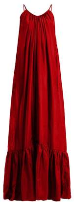 BRIGITTE Kalita Silk Habotai Maxi Dress - Womens - Dark Red
