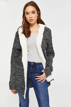 Ardene Faux Sherpa Hooded Cardigan
