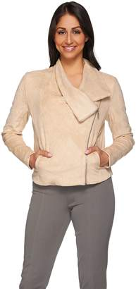 Halston H By H by Faux Suede Draped Zip Motorcycle Jacket