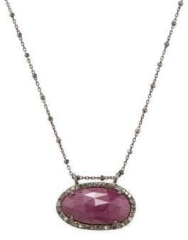Champagne Diamond, Pink Sapphire and Silver Kaia Pendant Necklace